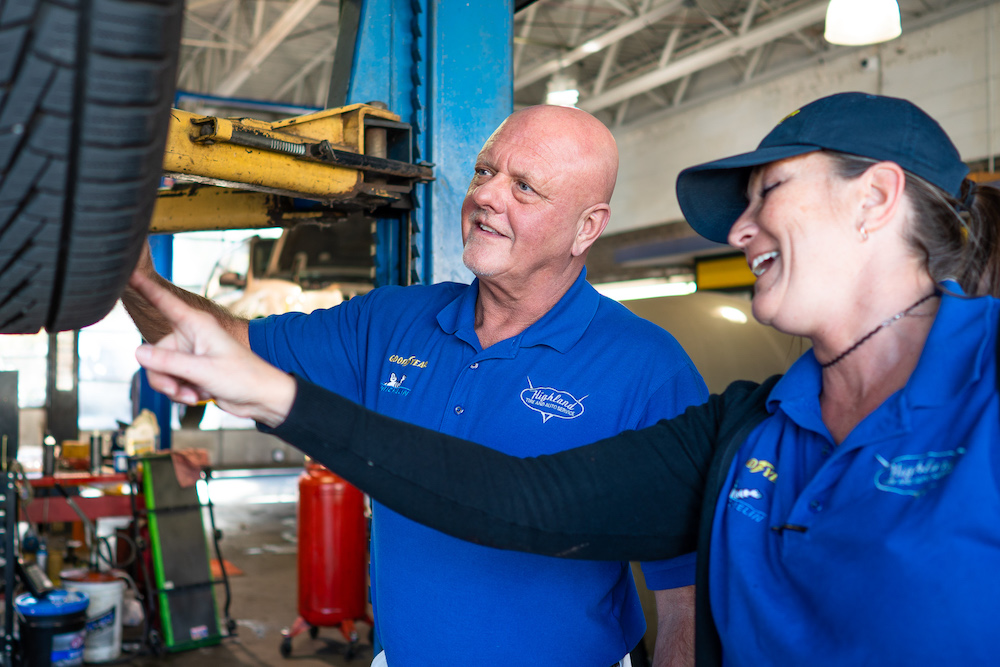 Happy workers at Highland Tire and Auto