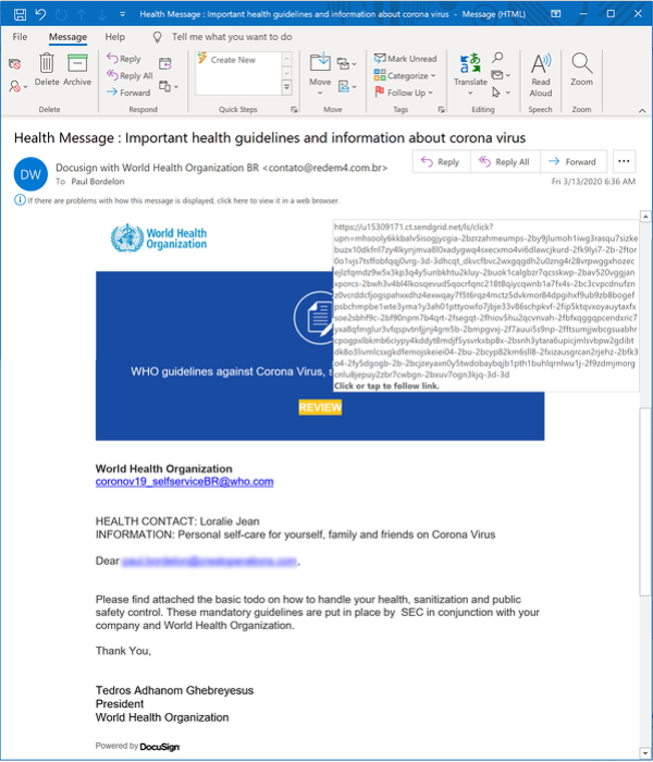 Example of fake WHO COVID-19 email